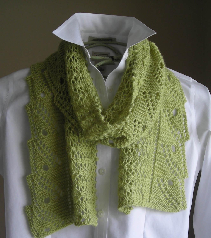 Lace Scarf Shawl - Easy Knitting Pattern - Front Porch Fern Leaf ...