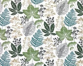 Tablecloth white brown green leaves Botanical modern Scandinavian Design , napkins , table runner , curtains napkins , great GIFT