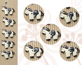 5 Horse Buttons, Handmade, Fully Washable, Incomparable Buttons, ButtonMad, Equestrian Buttons,