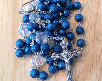 Blue Textured Glass and Swarovski Crystal Rosary