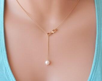 Bridesmaid gift set Bridesmaid necklace gold Infinity necklace bridesmaid pearl necklace silver Infinity pearl necklace bridesmaid infinity