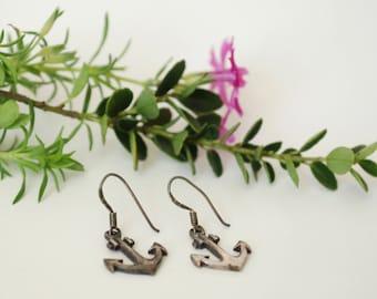 Sterling Anchor Dangle Earrings - 925 - Sailor - Boat - Cute
