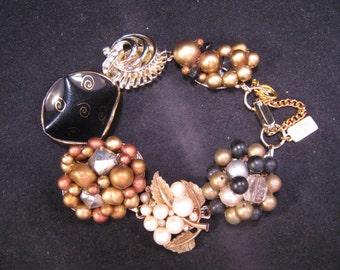 Reclaimed Vintage Bracelet, Earring Bracelet, Bridesmaid Gift, Cluster, Jennifer Jones, Statement, OOAK, Under 40, Gift Set - Black Gold