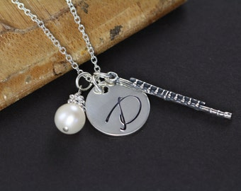 Flute Necklace, Personalized flute Jewelry, 925 Sterling Silver