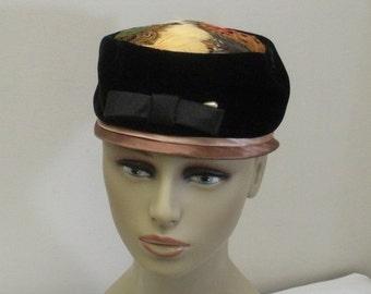 Vintage Black Velveteen & Feather Pillbox Hat