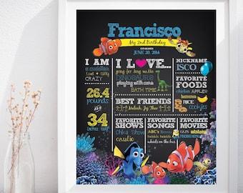 Finding Nemo Dory First Birthday Custom Chalkboard Poster Sign