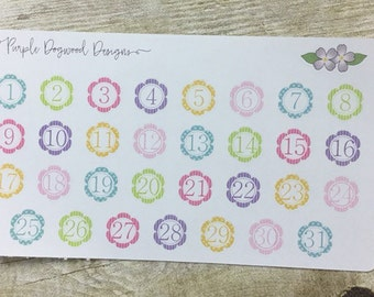 Patterned (Stripes and Polka Dots) Flower Date Stickers