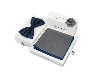 de MORÉ - blue grey bow tie set