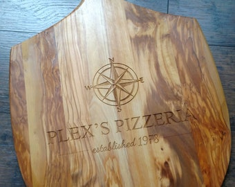 "Engraved Personalized Coordinates Olive Wood Pizza Board 24"" x 14"""