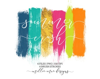 INSTANT DOWNLOAD - Summer Crush Brush Strokes -  Neon - Gold - Blue - Pink - Lime - Orange - Aqua