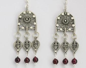 Filigree Chandelier Earrings with Garnet Beads