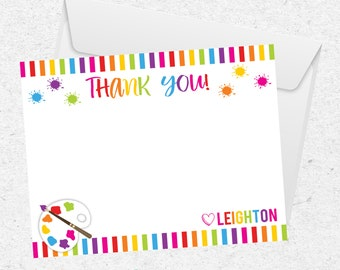 Art Party Thank You Card | Paint Party | Rainbow Party | Paint Palette | Personalized | Digital Printable | Artist |  The Party Darling