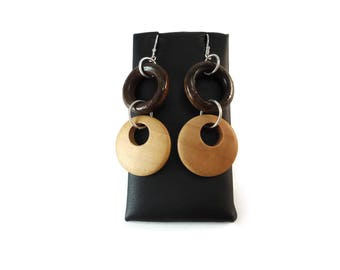 Wood Hoop Earrings Gogo Dangles, Dark and Light Brown Wooden Hoop Earrings Sterling Silver, Two Tone Brown Jewelry Wood Bohemian Earrings
