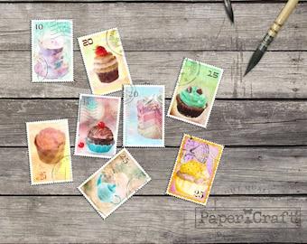 8 Vintage postage stamp Watercolor Postage stamp tea and cakes Handpainted watercolor printable Digital Scrapbooking clip art