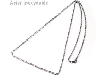 Length 50 cm, clasp, links 2 mm stainless steel chain