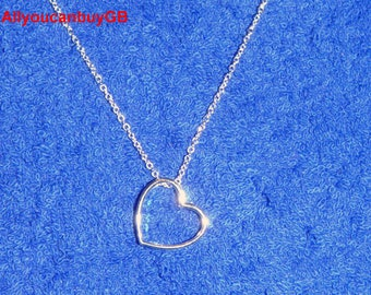 925 Sterling Silver Necklace, Heart Silver Necklace.  Heart Necklaces