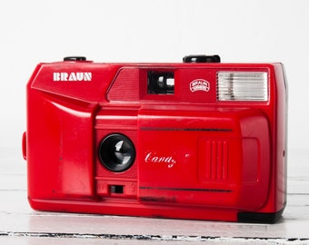 Multi-exposure toy camera, functional vintage camera for lomography, 35mm film analog street wide point&shoot, Built-in flash, Braun Candy 2