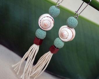 Lagoon Green Tassel Earrings, Boho Shell Dangle Earrings, Long Nautical Earrings, 1 Set
