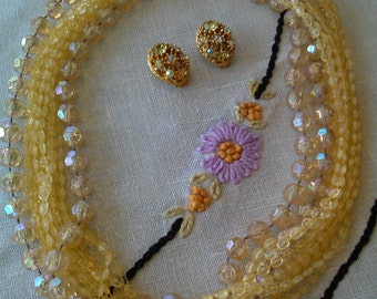 Butterscotch Dream Multi-strand Necklace and Earrings with Aurora Borealis Crystals, 1960's Vintage