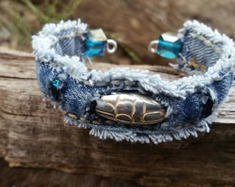 Frayed Denim Cuff with Beads