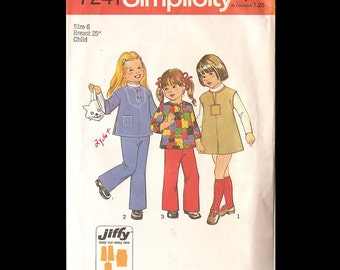 1975 Simplicity Childs Jiffy Dress or Top and Pants Pattern 7241 - Vintage Sewing Pattern - UNCUT - Children Girl's Size 6 - Fashion DIY