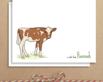 Cow Note Cards - Folded Note Cards - Personalized Children's Stationery - Thank You Notes - Illustrated Note Cards