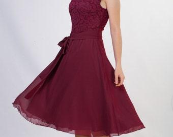 Short burgundy lace dress Short bridesmaid dress Short burgundy bridesmaid dress  5+ colors Knee length dress under 50