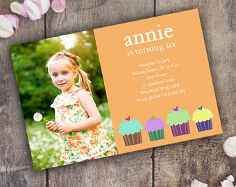 Birthday Invitation Personalised Invite  / Digital Custom Party Invitations / Any Age / Cupcake / Girl Boy Childrens Kids