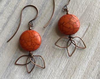 Harvest Moon Earrings, Hammered Copper, Leaves, Howlite, Orange, Ochre, Fall, Autumn