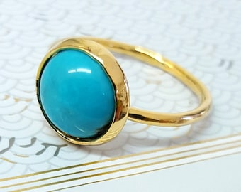 Turquoise Ring, Gold Turquoise Ring, Stone Ring, December Birthstone Ring, Turquoise Birthstone Ring, Gold Gemstone Ring, Statement Ring
