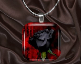 Black Rose Glass Tile Pendant with your choice of chain included(blackrose2)
