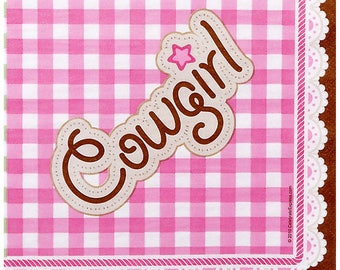 Pink Cowgirl Lunch Napkins / cowgirl theme / cowgirl party/ western girl party / cowgirl party napkins