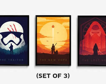 Star Wars The Force Awakens - Set of 3 - Poster Prints