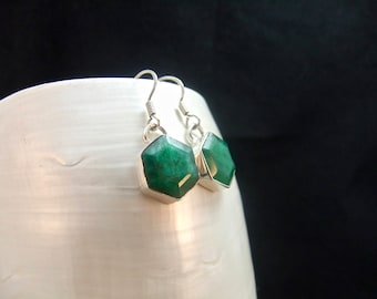 Green Emerald Sterling Silver Earrings