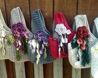 Instant Download PDF Crochet Pattern for Unlined Victorian Romance Purse includes instructions for flowers and leaves