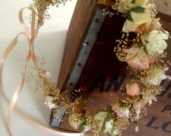 Bridal dried flower crown peach hair wreath accessories Vintage inspired barn wedding headpiece AmoreBride silk  -Kendra- babys breath halo