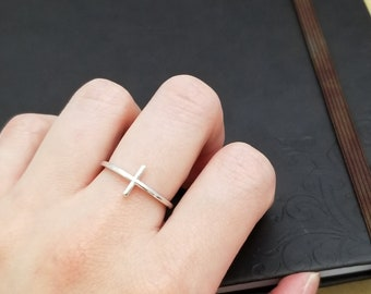 CROSS Ring sideways, 14K solid white gold ring, Sterling Silver Ring, Rose Gold, Platinum Promise Ring Minimalist Ring, Gift for her