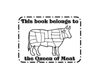Recipe book bookplate Butcher cow Cutting chart cookbook ex libris custom Rubber Stamp
