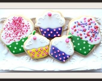 Custom Decorated Cupcake Sugar Cookies