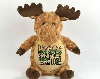 Personalized Stuffed Animal, Personalized Moose, Embroidered Stuffed Animal, Birth Announcement, Custom Moose Keepsake, New Baby Gift