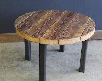 Authentic Round Barnwood Table. Straight steel legs. Choose size and height.
