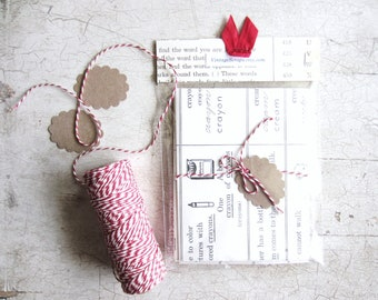 Handmade Envelope Set. Vintage Children's Dictionary, Baby Shower, Christmas Cards