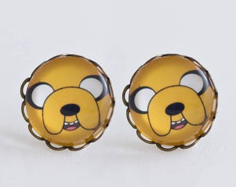 Jake The Dog Adventure Time /Earring  12mm antique bronze with waves / Special for Manga lovers