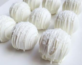 Wedding Day Cake Truffles - Cake Balls - White Chocolate Wedding Day Cake Bites - Wedding Cake Pops