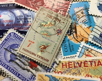 25 Postage Stamps, Map stamps, Vintage Postage Stamps, Maps, Globe, Used Stamps, Travel Stamps, Travel Journal