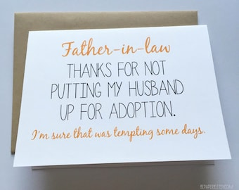 Father in Law Card - Card for Father in Law - Funny Father's Day Card - Humor Father's Day Card