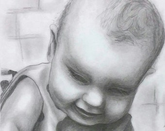 GRAPHITE PORTRAIT DRAWINGS - Sample - Custom Baby Portraits - Childrens Portrait Drawing on paper.