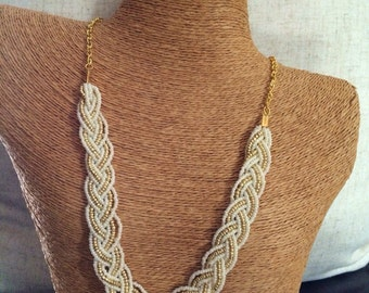 Braided ivory necklace, bridesmaids necklace, ivory necklace, ivory pearl necklace, bridesmaid necklace, ivory pearl bib, ivory and gold bib