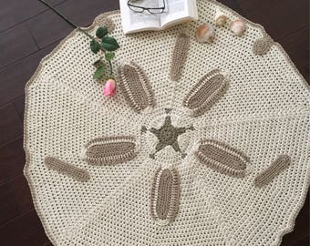 Made to order this beautiful  sand dollars rug , crochet sand dollar rug, handmade sand dollars rug,