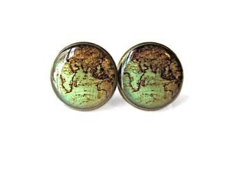 Tan Antique Minimalist World Map Earrings, World Globe Map Jewelry, Bohemian Jewelry Bohemian Gypsy Jewelry, Wanderlust Jewelry Boho Jewelry